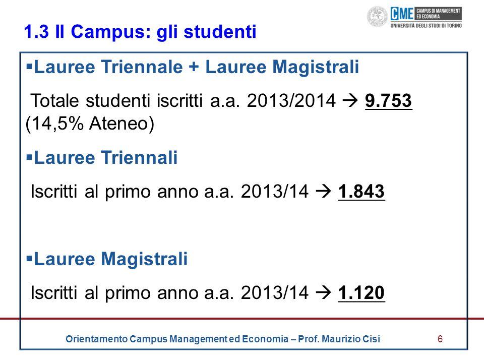 1.3 Il Campus: gli studenti