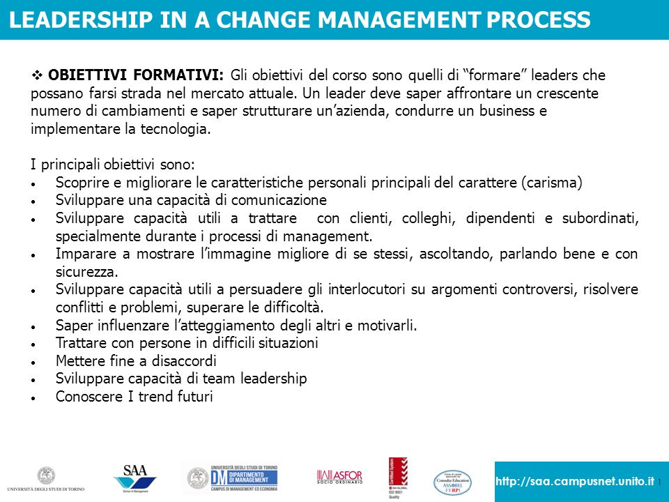LEADERSHIP IN A CHANGE MANAGEMENT PROCESS