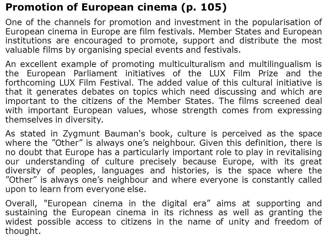 Promotion of European cinema (p. 105)