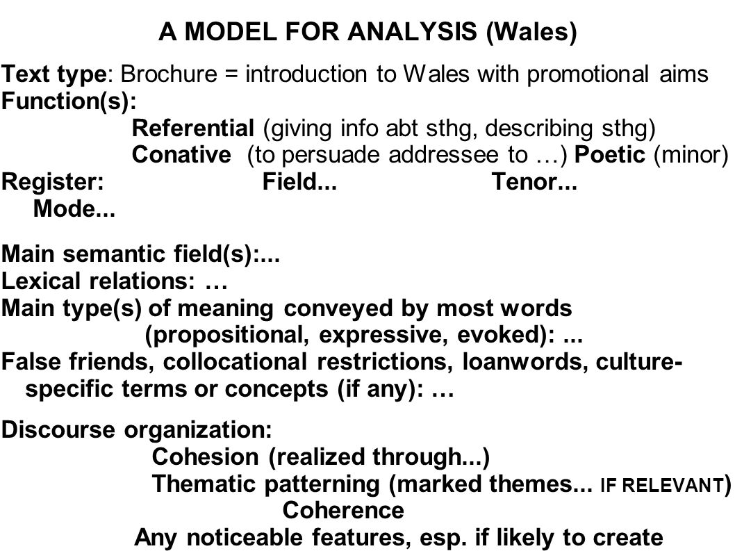A MODEL FOR ANALYSIS (Wales)