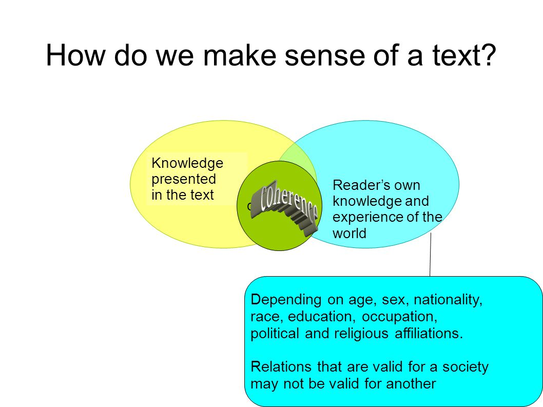 How do we make sense of a text