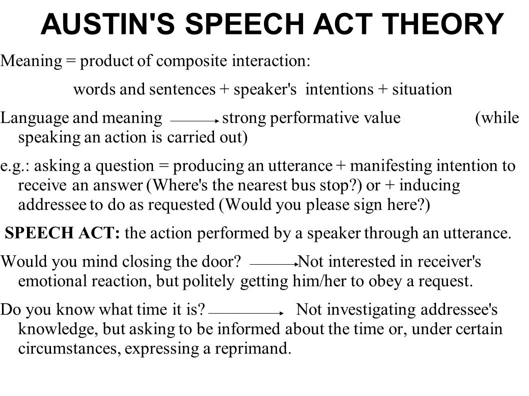 AUSTIN S SPEECH ACT THEORY
