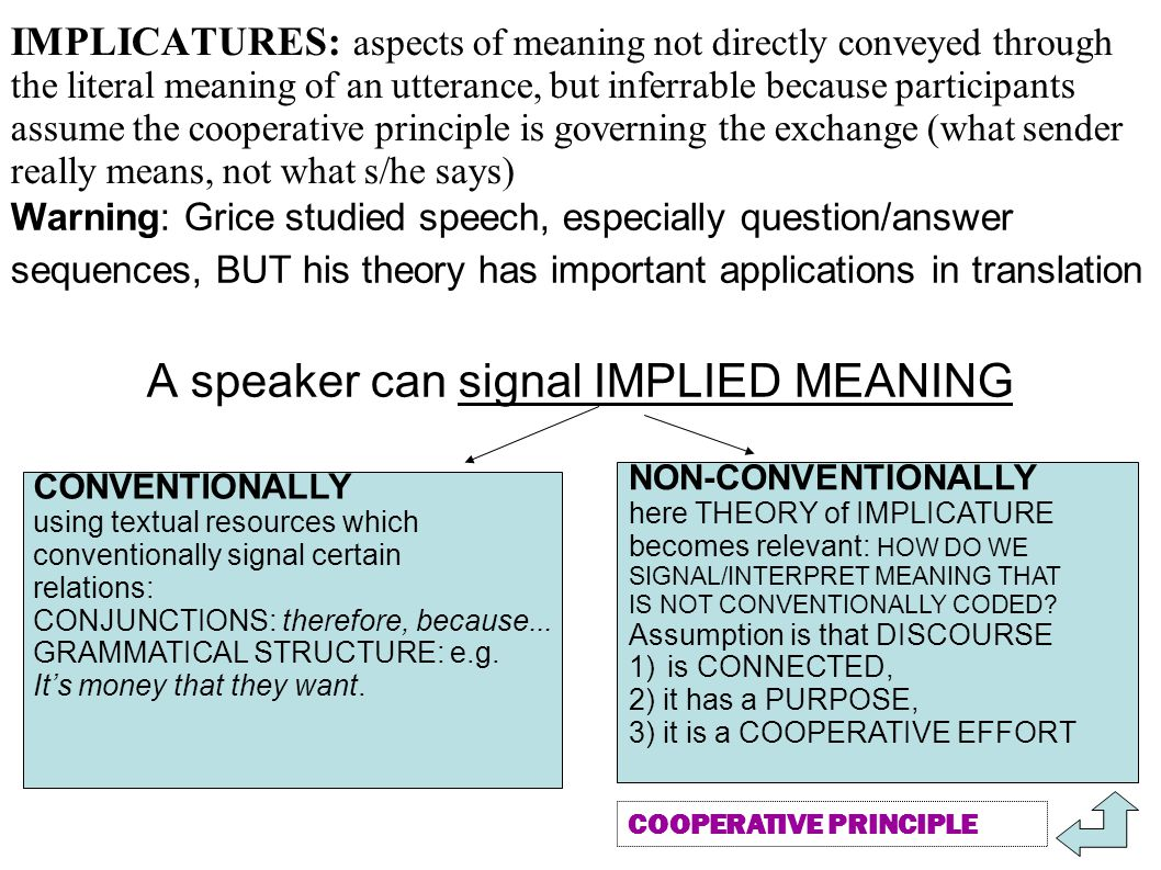 A speaker can signal IMPLIED MEANING