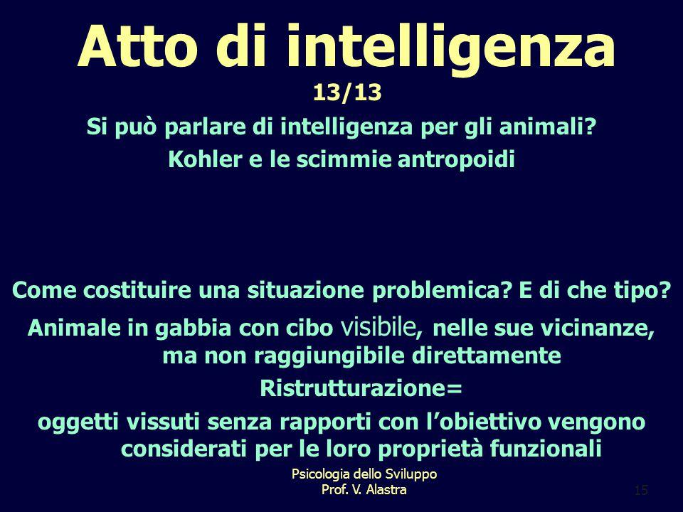 Atto di intelligenza 13/13 Si può parlare di intelligenza per gli animali Kohler e le scimmie antropoidi.