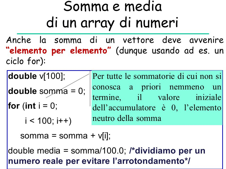 Somma e media di un array di numeri