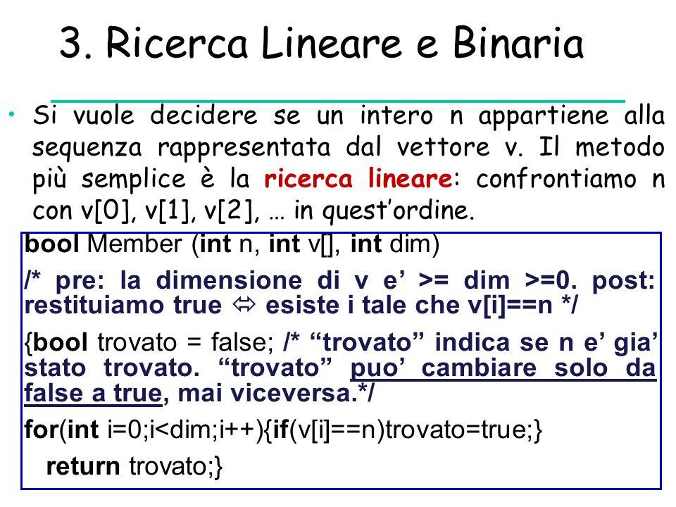 3. Ricerca Lineare e Binaria