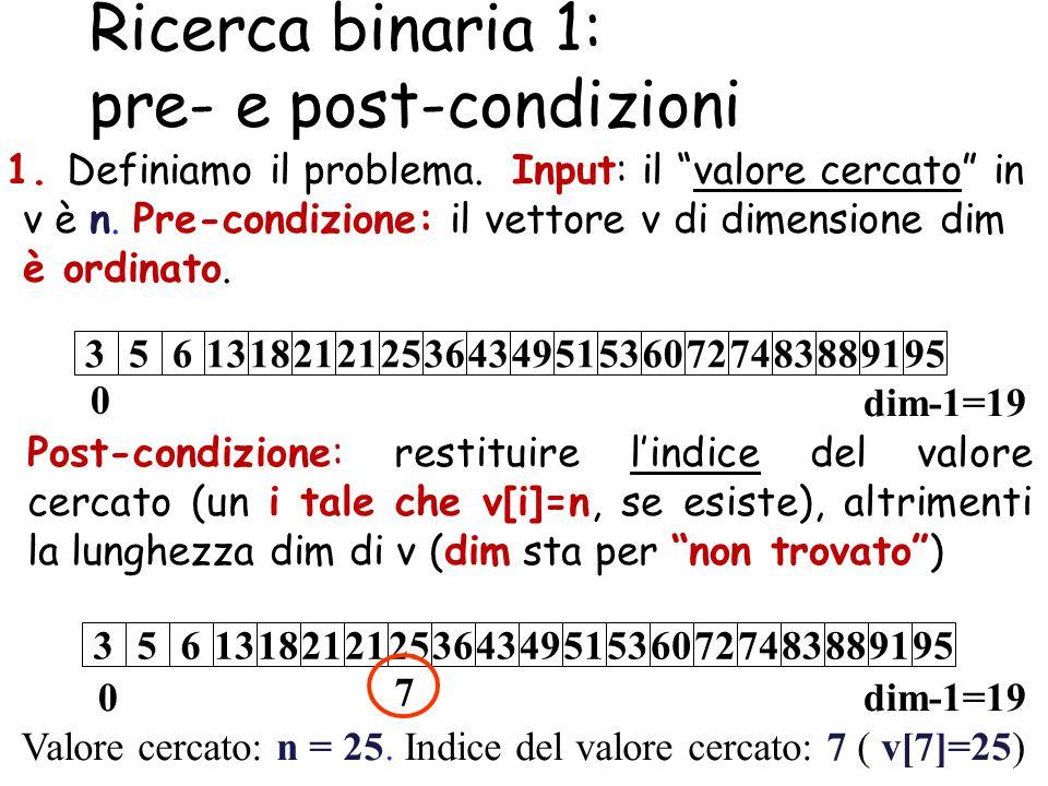 Ricerca binaria 1: pre- e post-condizioni