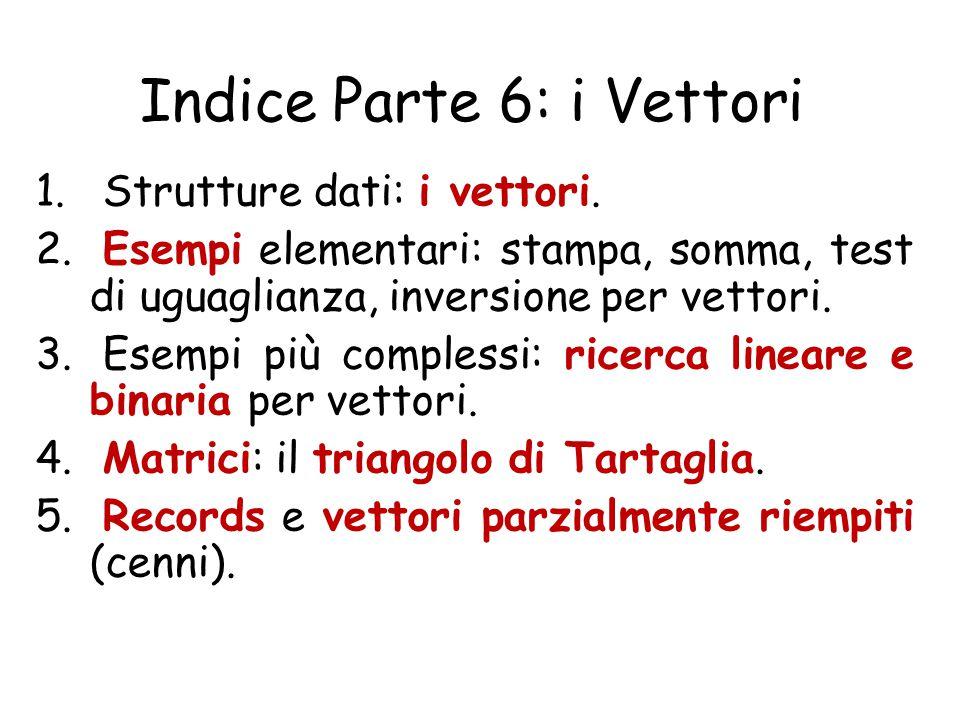Indice Parte 6: i Vettori