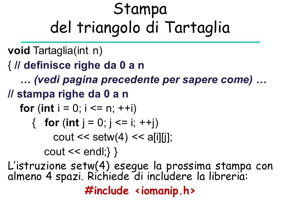 Stampa del triangolo di Tartaglia