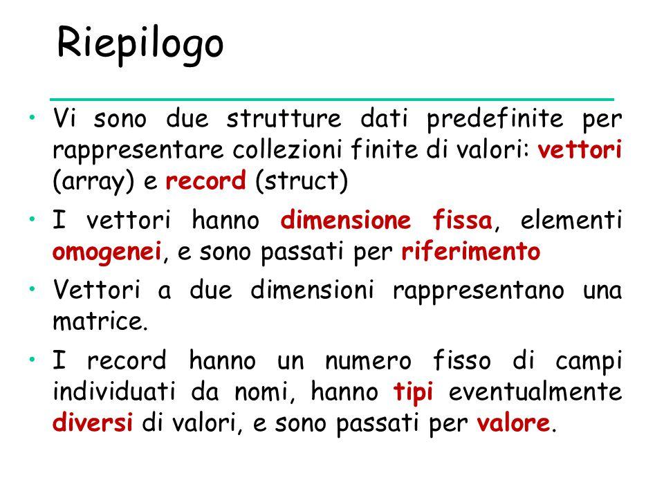 Riepilogo Vi sono due strutture dati predefinite per rappresentare collezioni finite di valori: vettori (array) e record (struct)