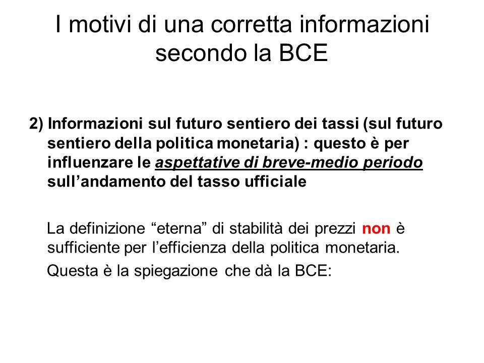 I motivi di una corretta informazioni secondo la BCE