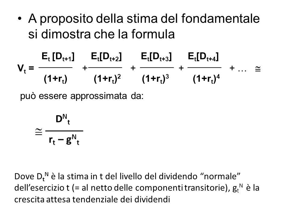 A proposito della stima del fondamentale si dimostra che la formula
