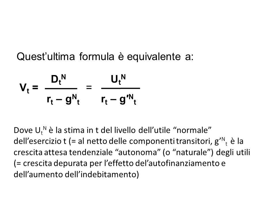 Quest'ultima formula è equivalente a: Vt = = DtN UtN