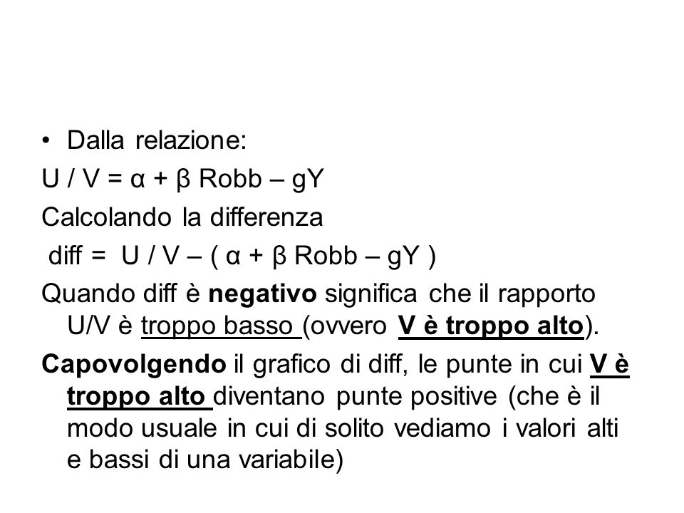 Dalla relazione: U / V = α + β Robb – gY. Calcolando la differenza. diff = U / V – ( α + β Robb – gY )