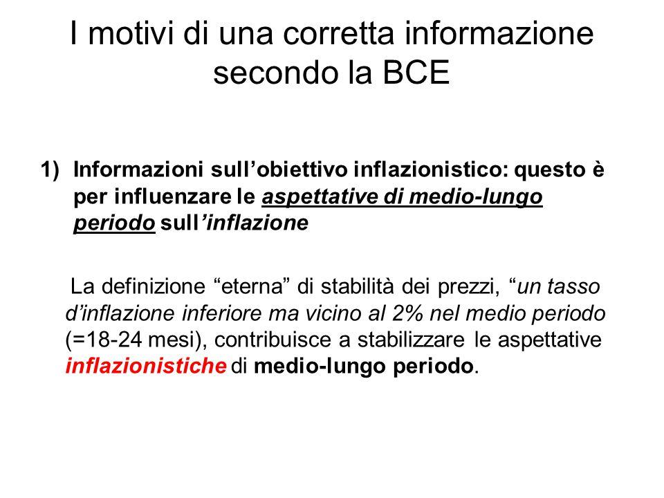 I motivi di una corretta informazione secondo la BCE