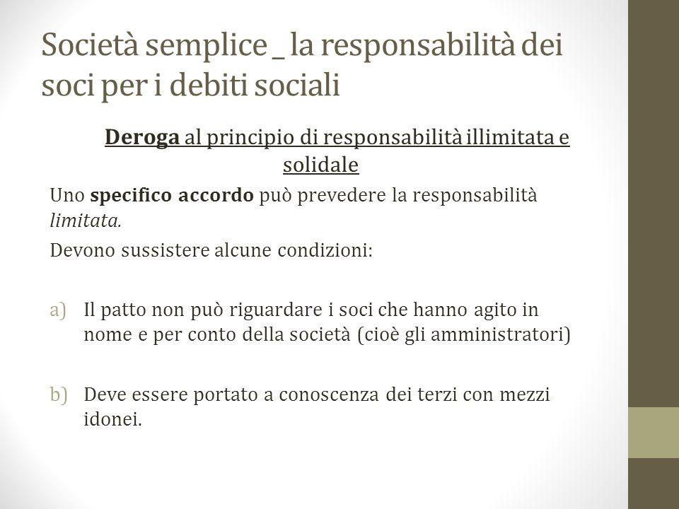 Società semplice _ la responsabilità dei soci per i debiti sociali