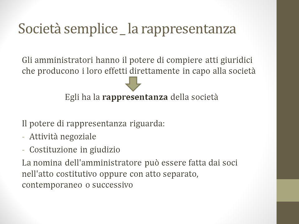 Società semplice _ la rappresentanza