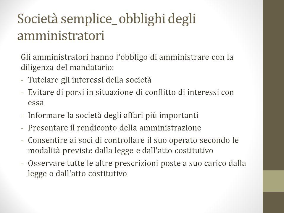 Società semplice_ obblighi degli amministratori