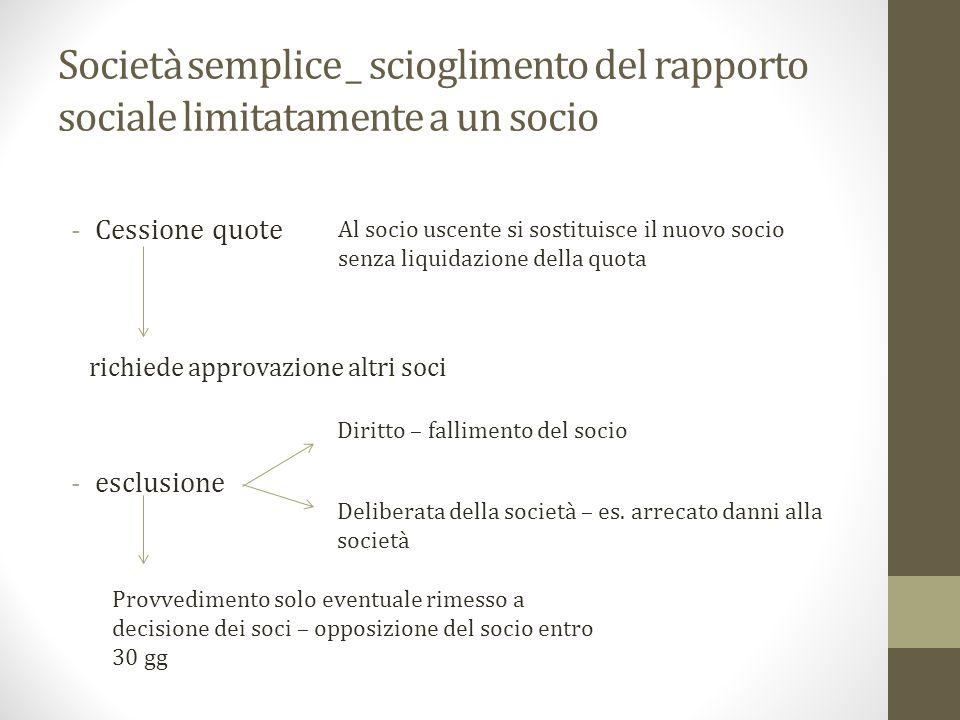 Società semplice _ scioglimento del rapporto sociale limitatamente a un socio