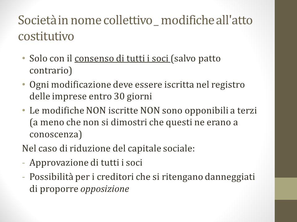 Società in nome collettivo _ modifiche all atto costitutivo