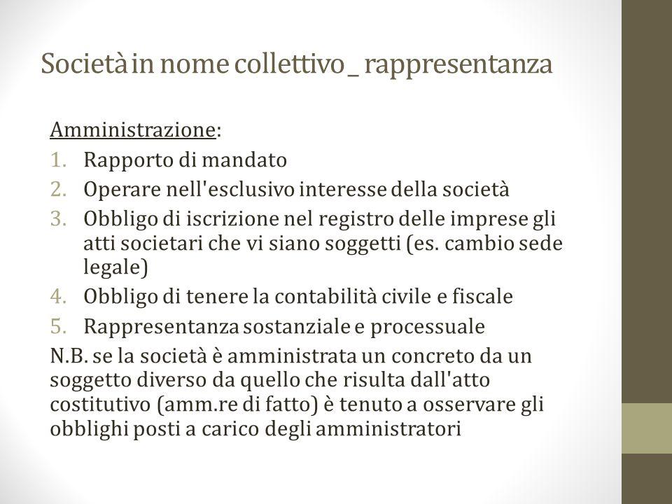 Società in nome collettivo _ rappresentanza