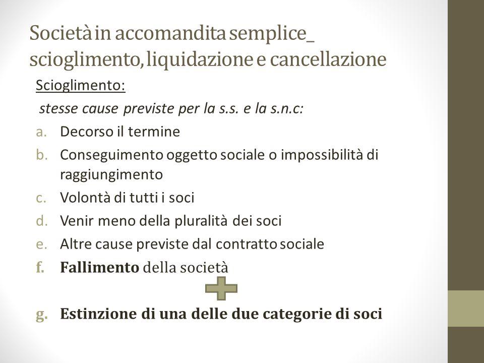 Società in accomandita semplice_ scioglimento, liquidazione e cancellazione