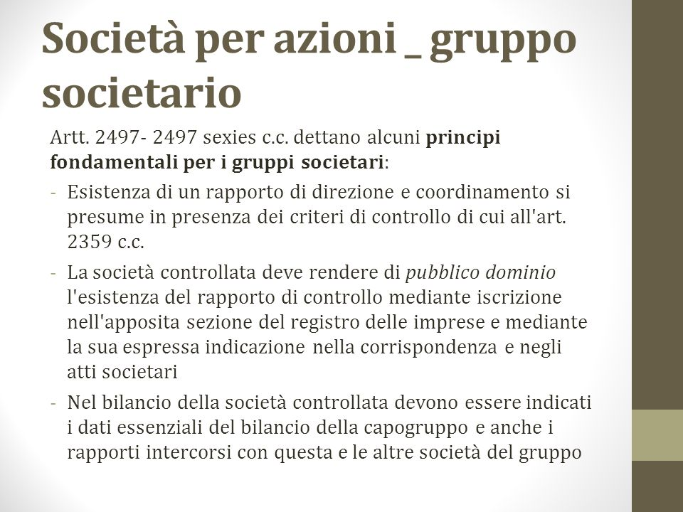 Società per azioni _ gruppo societario