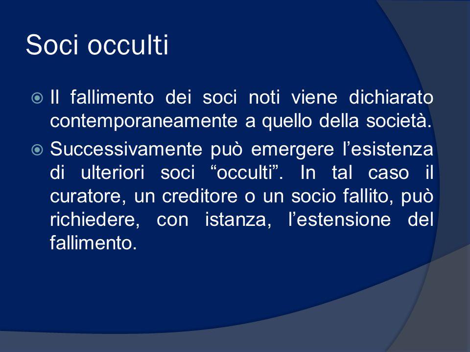 Soci occulti Il fallimento dei soci noti viene dichiarato contemporaneamente a quello della società.