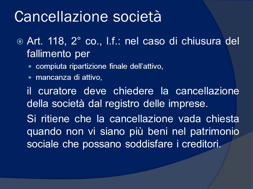 Cancellazione società