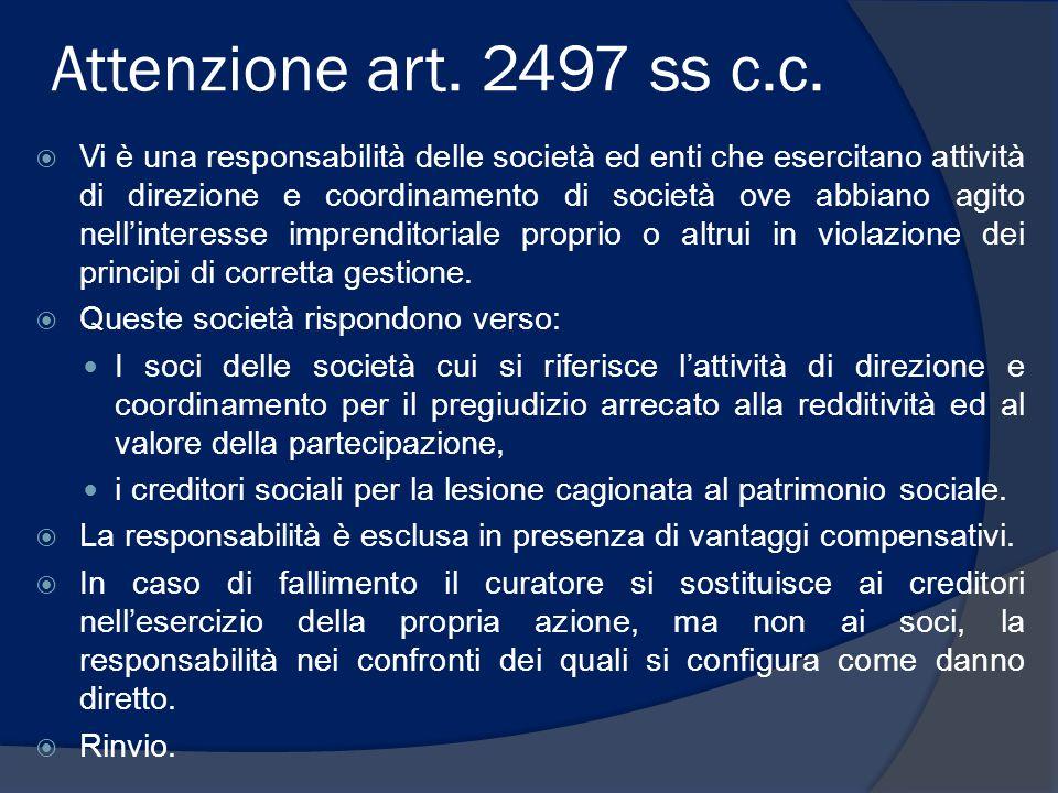 Attenzione art. 2497 ss c.c.