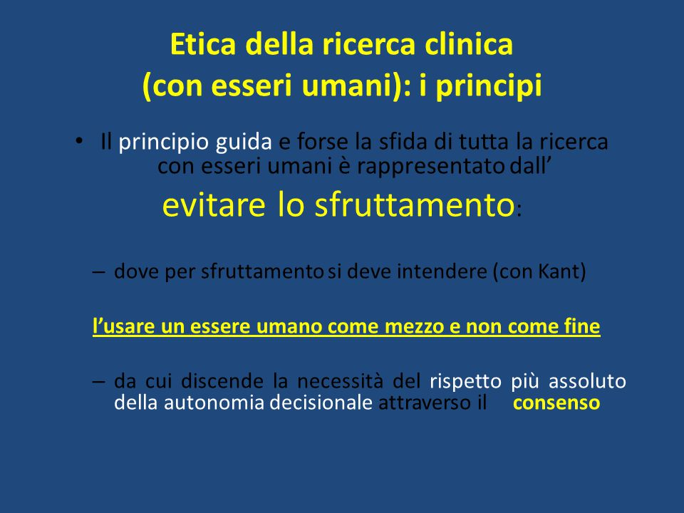 Etica della ricerca clinica (con esseri umani): i principi