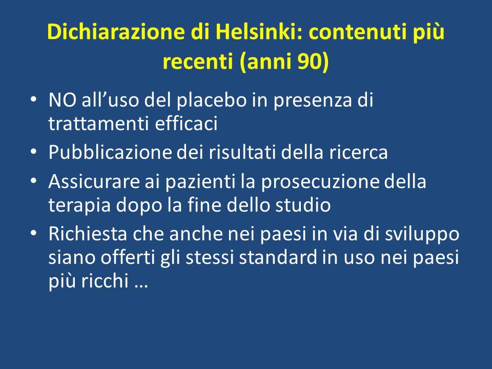 Dichiarazione di Helsinki: contenuti più recenti (anni 90)