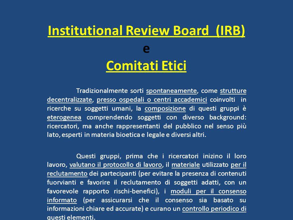 Institutional Review Board (IRB) e Comitati Etici