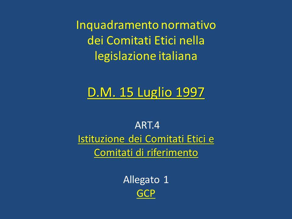 Inquadramento normativo dei Comitati Etici nella legislazione italiana