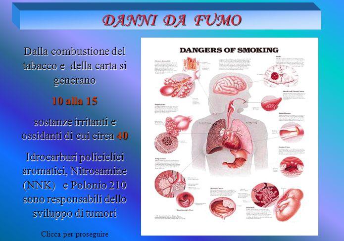 DANNI DA FUMO Dalla combustione del tabacco e della carta si generano