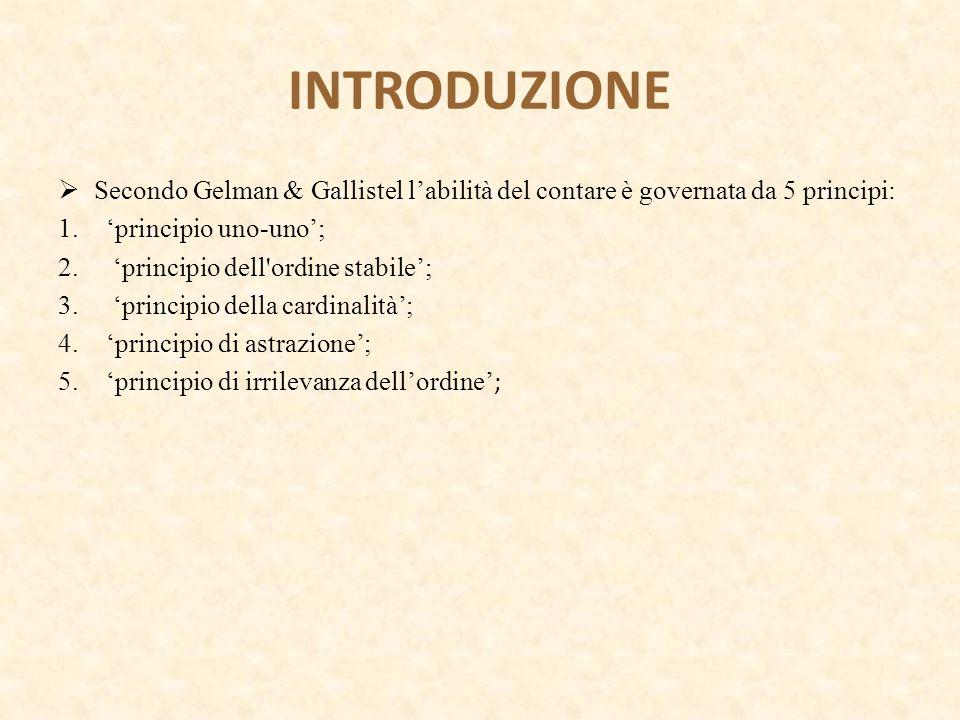 INTRODUZIONE Secondo Gelman & Gallistel l'abilità del contare è governata da 5 principi: 'principio uno-uno';