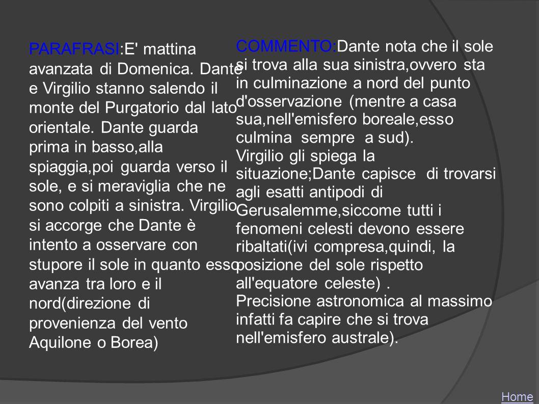 COMMENTO:Dante nota che il sole si trova alla sua sinistra,ovvero sta in culminazione a nord del punto d osservazione (mentre a casa sua,nell emisfero boreale,esso culmina sempre a sud).