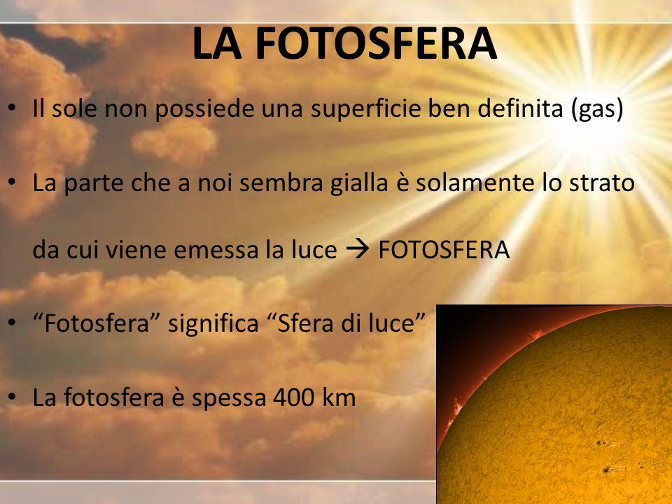 LA FOTOSFERA Il sole non possiede una superficie ben definita (gas)
