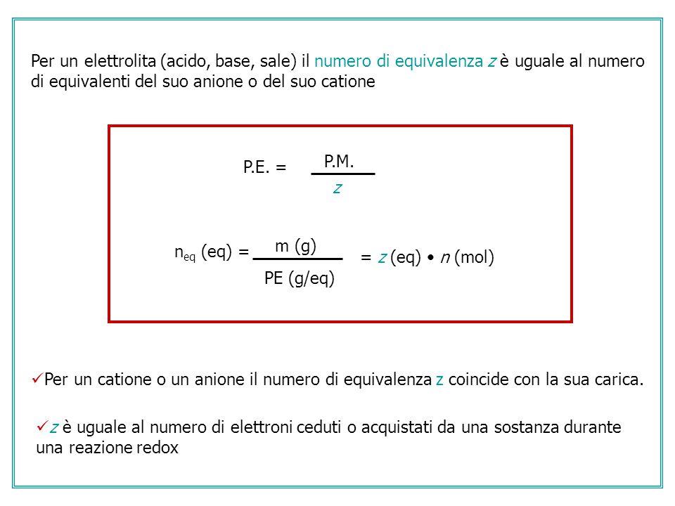 Per un elettrolita (acido, base, sale) il numero di equivalenza z è uguale al numero di equivalenti del suo anione o del suo catione