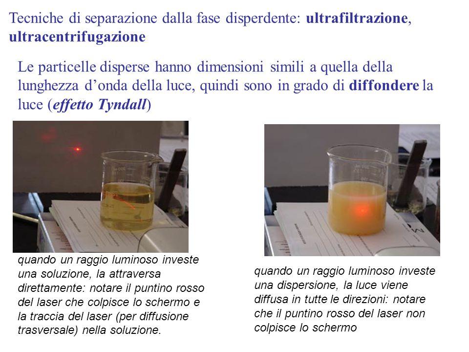 Tecniche di separazione dalla fase disperdente: ultrafiltrazione, ultracentrifugazione