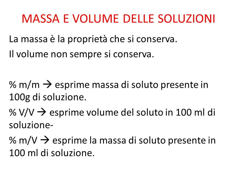 MASSA E VOLUME DELLE SOLUZIONI