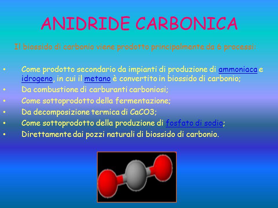 Il biossido di carbonio viene prodotto principalmente da 6 processi: