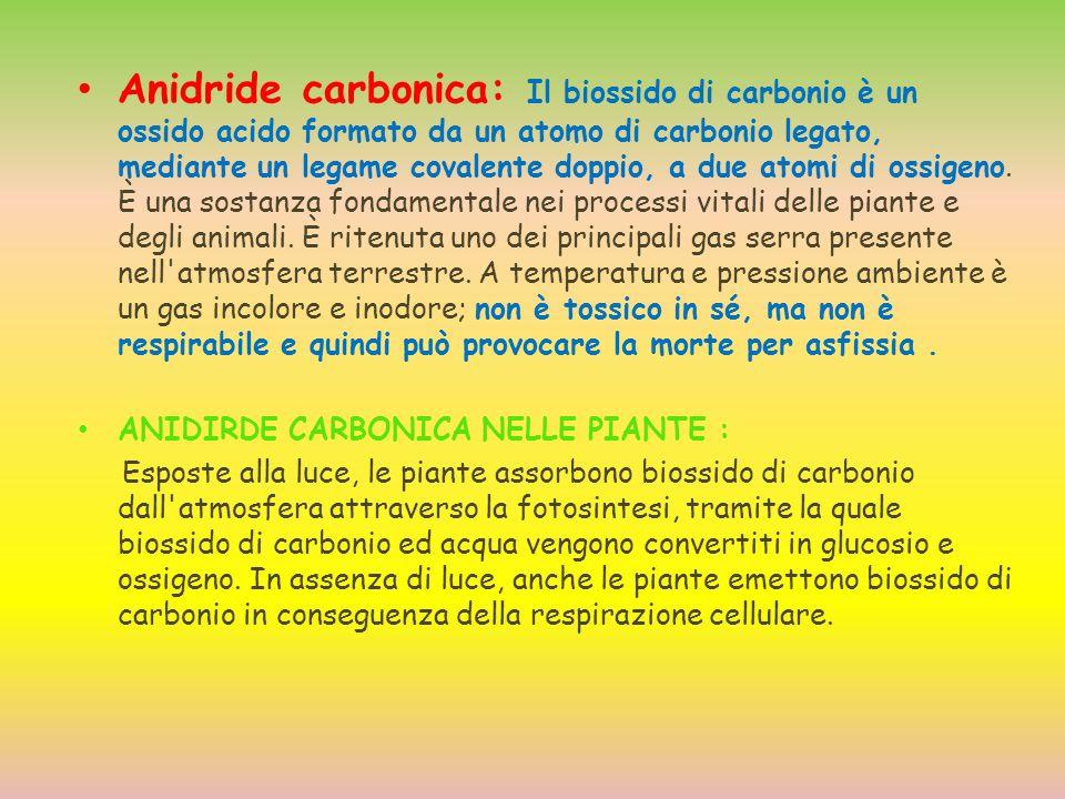 Anidride carbonica: Il biossido di carbonio è un ossido acido formato da un atomo di carbonio legato, mediante un legame covalente doppio, a due atomi di ossigeno. È una sostanza fondamentale nei processi vitali delle piante e degli animali. È ritenuta uno dei principali gas serra presente nell atmosfera terrestre. A temperatura e pressione ambiente è un gas incolore e inodore; non è tossico in sé, ma non è respirabile e quindi può provocare la morte per asfissia .