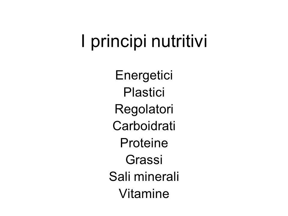I principi nutritivi Energetici Plastici Regolatori Carboidrati