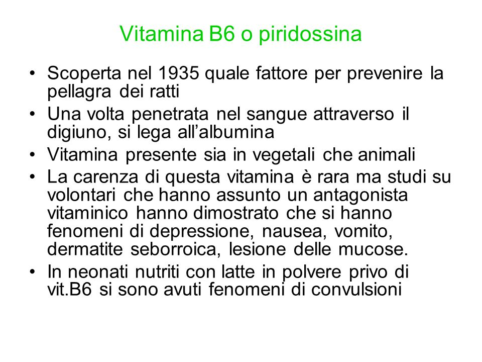 Vitamina B6 o piridossina