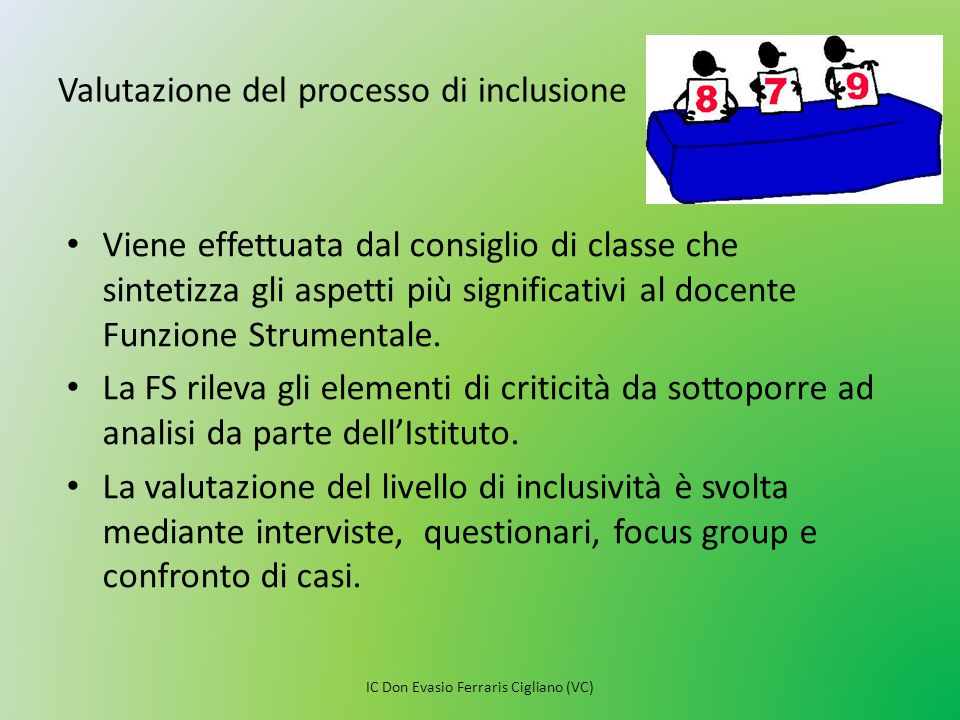 Valutazione del processo di inclusione
