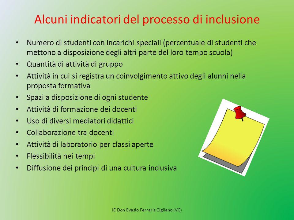 Alcuni indicatori del processo di inclusione