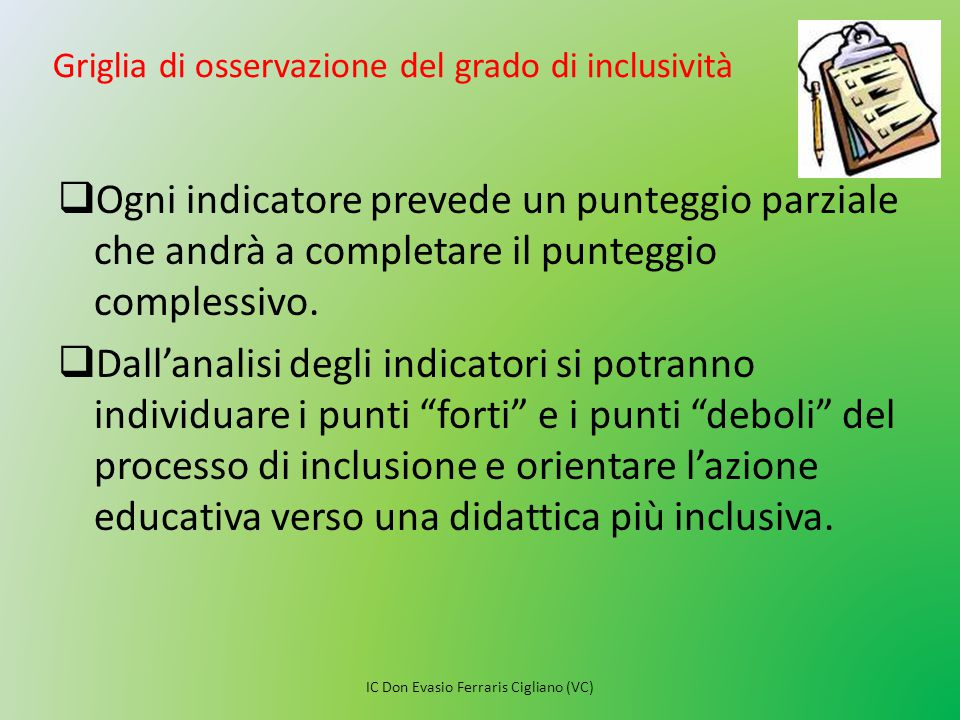 Griglia di osservazione del grado di inclusività