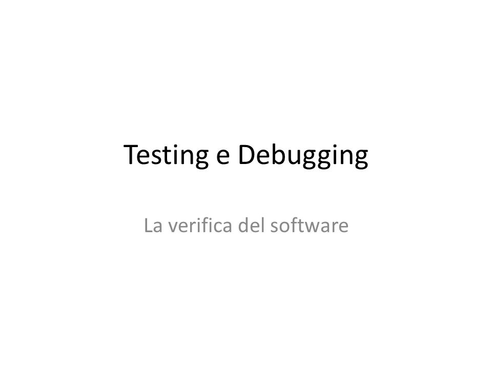 La verifica del software