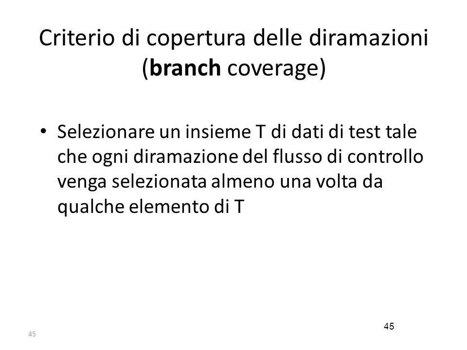 Criterio di copertura delle diramazioni (branch coverage)